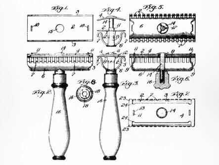 Illustration of parts to the original Gillette razor.