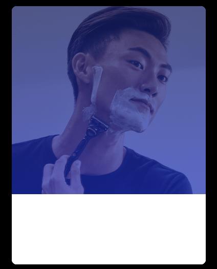 Man shaving with Gillette razor
