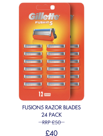 Save £10 on 24 pack of Fusion5 blades