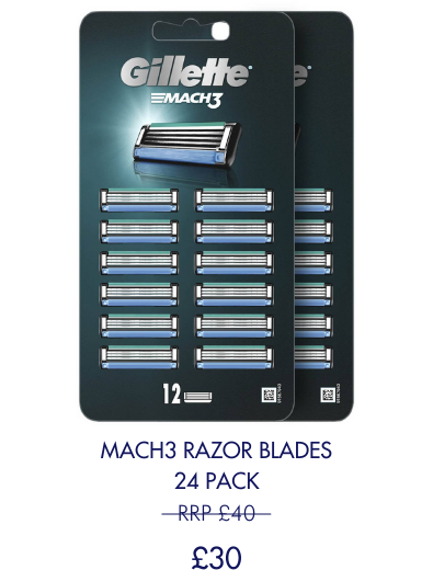 Save £10 on 24 pack of Mach3 blades