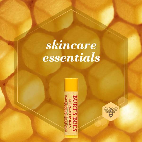 An image of a Burt's Bees Beeswax Lip Balm on top of a honeycomb background