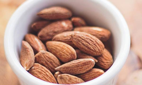 A cup of almonds