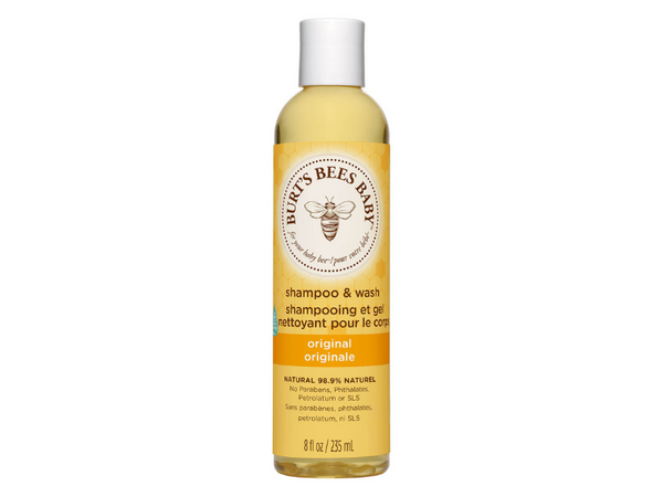 A bottle of Burt's Bees Baby Bee Shampoo