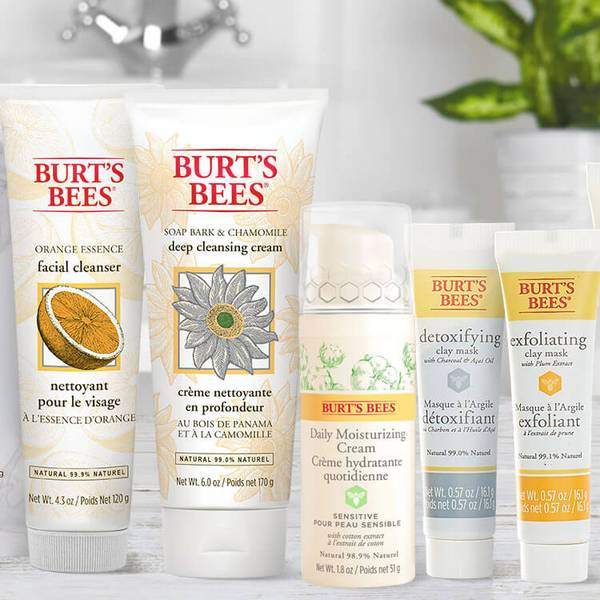 Burt's Bees Orange Essence Facial Cleanser, Deep Cleansing Cream, Sensitive Daily Moisturising Cream, and the Detoxifying & Exfoliating Clay Face Mask