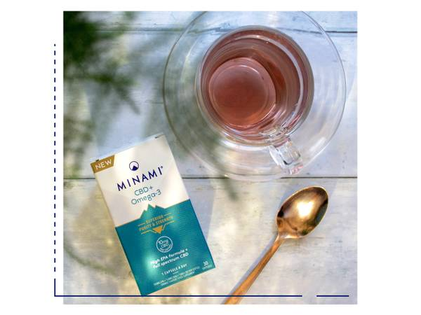 Minami product next to tea and spoon