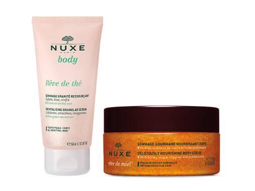 Les gommages corps NUXE nettoient sans dessécher, la laissant confortable et infiniment douce.