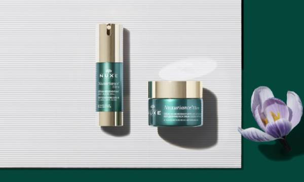 Nuxuriance Ultra. This range of global anti-aging, replenishing skincare with saffron and bougainvillea bi-floral cells replenishes, helps to regenerate and fills in wrinkles