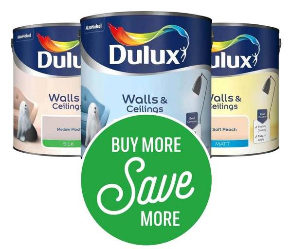 Get 2 for £30 or 3 for £42 on Dulux Standard Coloured Emulsion 2.5L (Excludes Pure Brilliant White, Testers, Clearance)