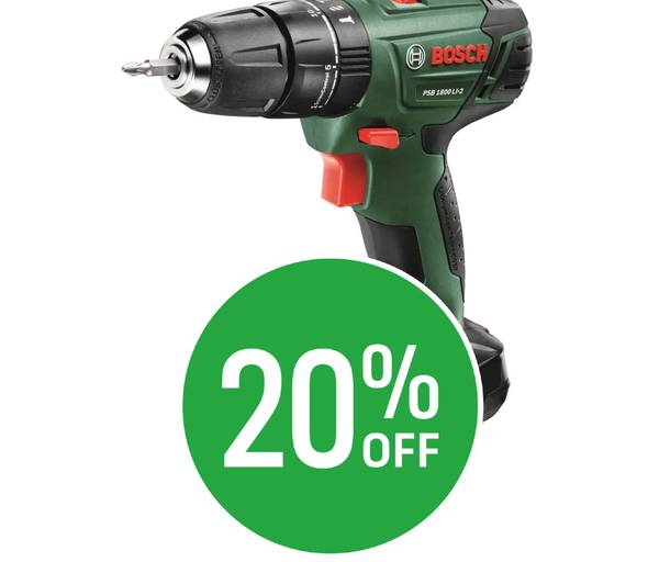 20% off Bosch PSB 1800 Li-2 Cordless Hammer Drill - 2 Batteries - 18V