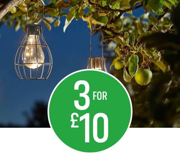 3 for £10 on Solar Caged Lanterns