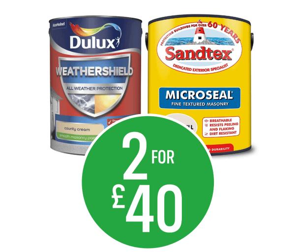 2 for £40 Dulux Weathershield & Sandtex Masonry Paint 5L
