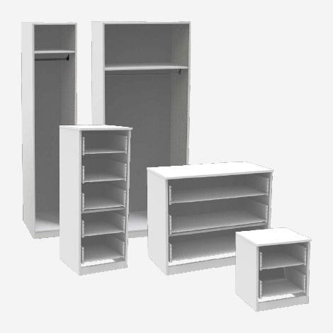 Our 3 ranges are available in 5 furniture configurations and 3 cabinet colours. All of our cabinets come with adjustable feet and hinges.