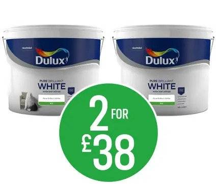 Get 2 for £38 on Dulux Pure Brilliant White - Matt Emulsion, Total Cover Matt or Soft Sheen