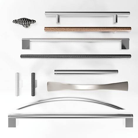 Choose from our range of 17 beautiful handles ideal for adding monochrome or colour accents.