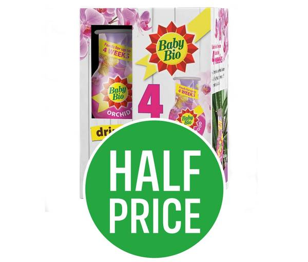 Half price on Baby Bio Orchid drip feeders, when you buy an Orchid