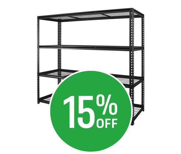 Get 15% off Selected Garage Shelving