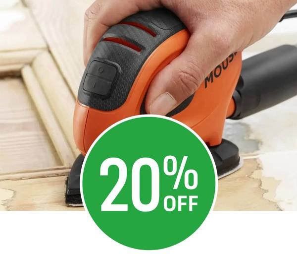 20% off BLACK+DECKER 55W Corded Detail Mouse Sander with 6x Sanding Sheets