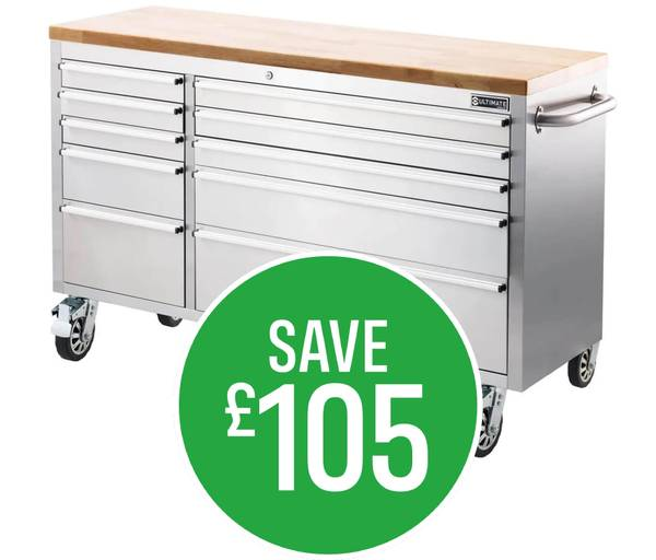 Save £105 on Ultimate 56in 10 Drawer Tool Trolley - Click & Collect