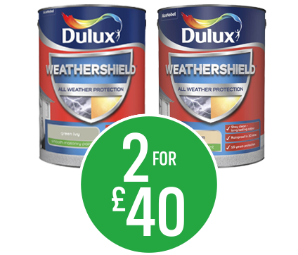 Get 2 for £40 on Dulux Weathershield Masonry Paint 5L