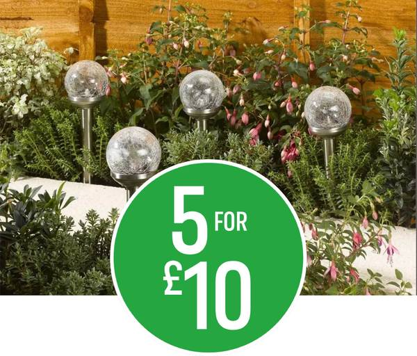 5 for £10 on Crackle Ball Solar Stake Lights