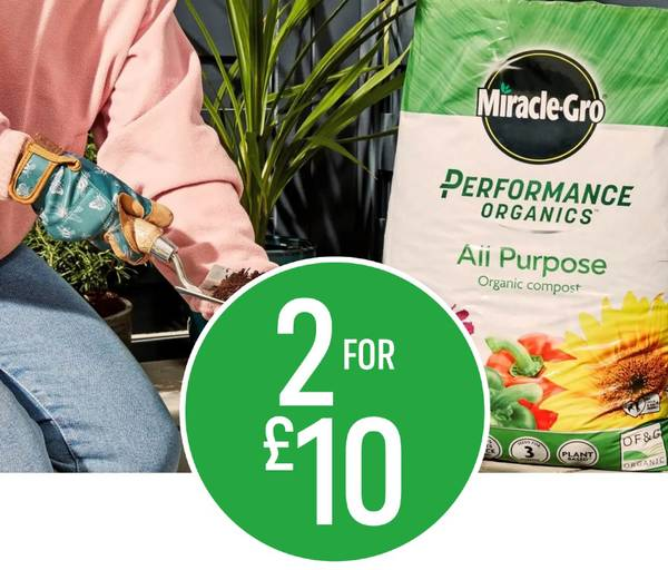 2 for £10 on Miracle-Gro Performance Organics All Purpose Compost 40L