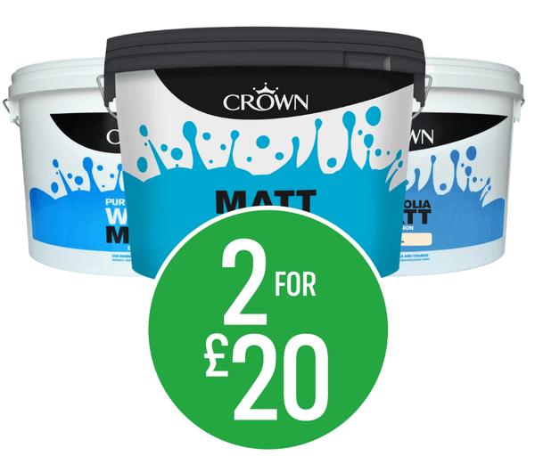 2 for £20 on Crown 10L Matt Emulsion - Pure Brilliant White, Magnolia & Soft Grey
