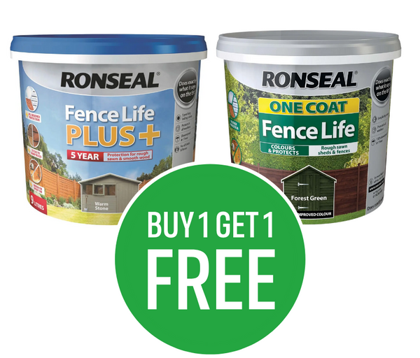 Buy One Get One Free on Ronseal Fencelife One Coat & Plus 5L Emulsion - Mix & Match - Cheapest Item Free
