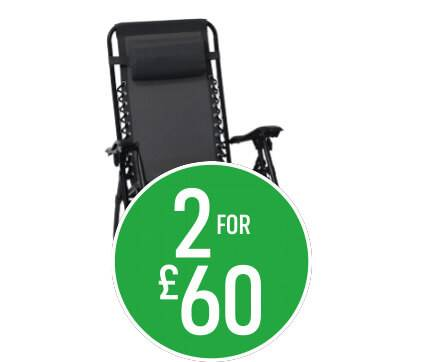 2 for £60 Reclining Metal Sun lounger in Grey