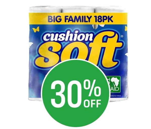 Get 30% off on Toilet Tissue Cushion Soft - Pack of 18