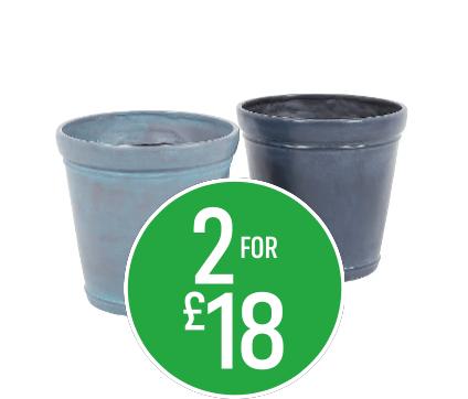 2 for £18 Georgian Metallic Grey / Dark lead cone pot 40cm