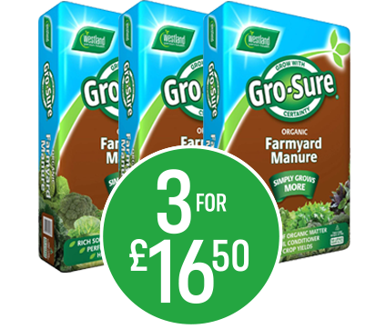 Get 3 for £16.50 on Gro-Sure Farm Yard Manure - 50l