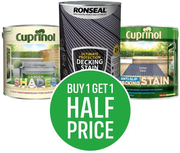 Buy One Get One Half Price Exterior Woodcare (Includes Shed, Fence, Decking and Woodstain. Excludes Clearance, Testers. Mix and Match Cheapest Item Half Price)