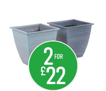 2 for £22 Georgian Metallic Grey / Dark lead square pot 35cm