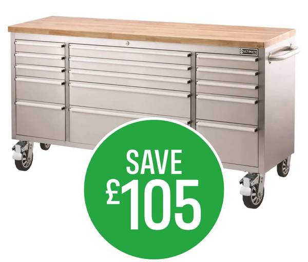 Save £105 on Ultimate Storage 72 Inch Tool Trolley 15 Drawer