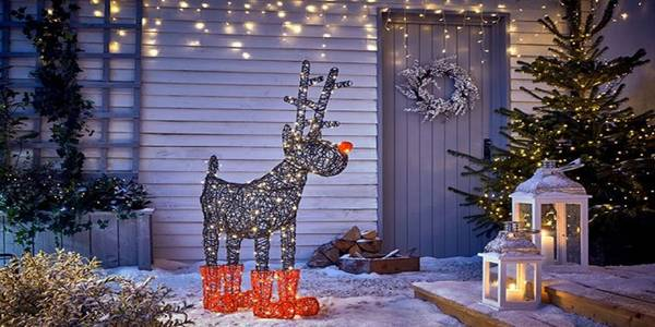 Christmas lights and decoration of rudulph