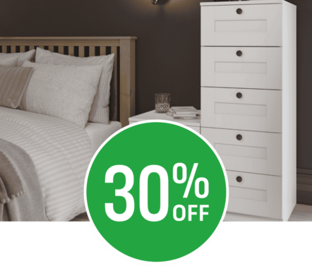 Get 20% off when you spend £200 or 30% off when you spend £500 on modular bedroom furniture.