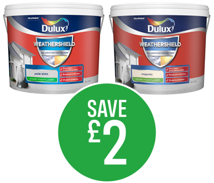 Save £2 on Dulux Weathershield Magnolia & Pale Slate 10L