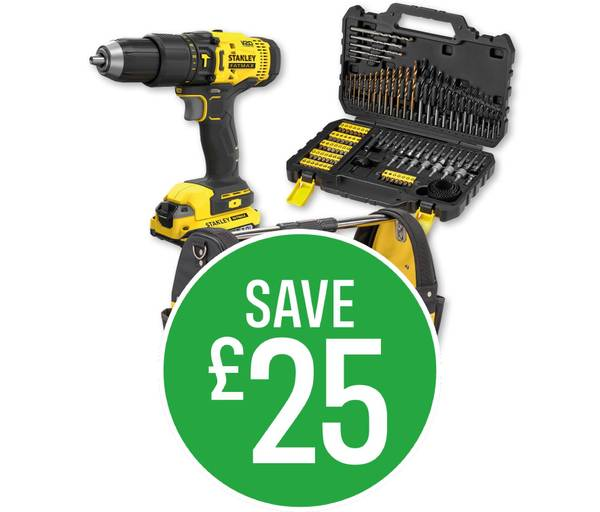 Save £25 on Stanley FatMax Drill Bundle £143 to £118 - includes V20 18V Cordless Hammer Drill Kit, 100 piece Drill Driver Set and 18'' Tote.