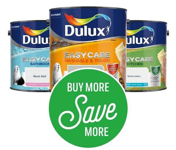 Get 2 for £40 or 3 for £54 on Dulux Easycare Coloured Emulsion 2.5L (Excludes Pure Brilliant White, Testers, Clearance)