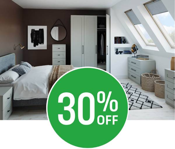 Get 30% off when you spend £350 on modular bedroom furniture