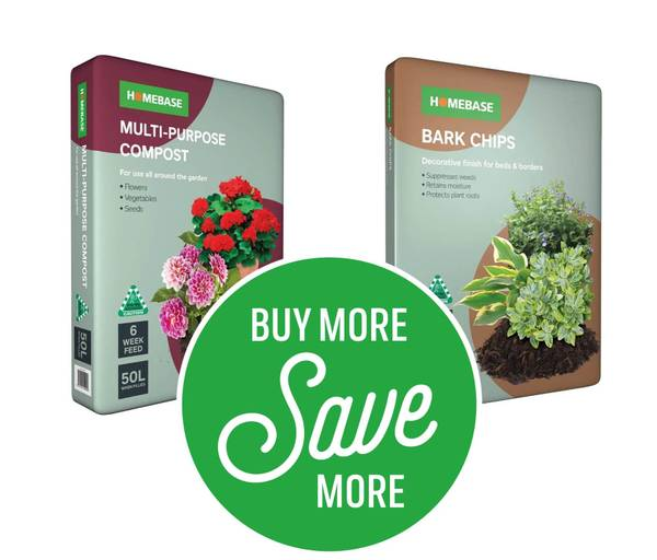 Buy More Save More - 3 for £14 or 6 for £25 on Homebase 50l Multi Purpose Compost & Bark Chip