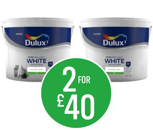 Get 2 for £40 on Dulux Pure Brilliant White - Matt Emulsion, Total Cover Matt or Soft Sheen
