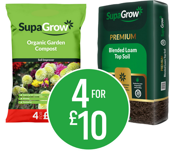 Buy 4 for £10 - Mix & Match on Supagrow Compost and Topsoil