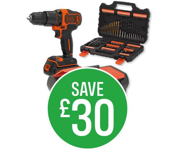 Save £30 when you buy a BLACK+DECKER 18V Cordless Hammer Drill Kit plus 109 Piece Accessories Set and 19'' Toolbox as a Bundle