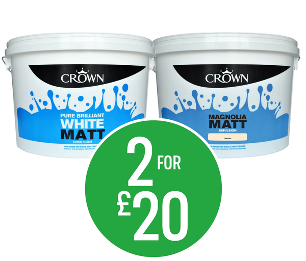 2 for £20 on Crown 10L Matt Emulsion - Pure Brilliant White & Magnolia