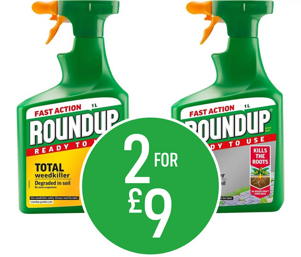 2 for £9 on Roundup Total Ready To Use Weedkiller - 1L