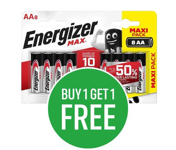 Buy One Get One Free on Energizer MAX Alkaline AA and AAA 8 pack batteries