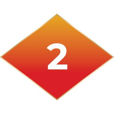 Orange diamond with number 2 inside