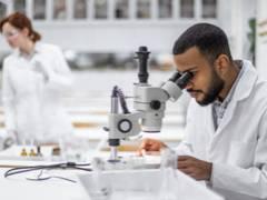 Scientist looking at cells