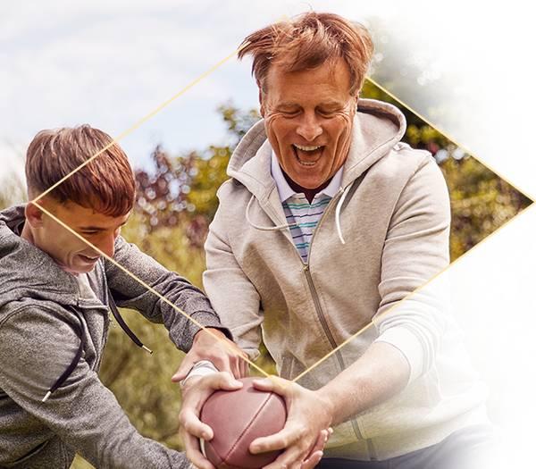 2 men playing football